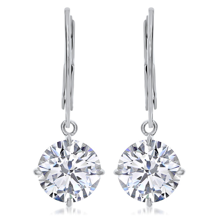 Round Cubic Zirconia Dangle Leverback / Eurowire Earrings