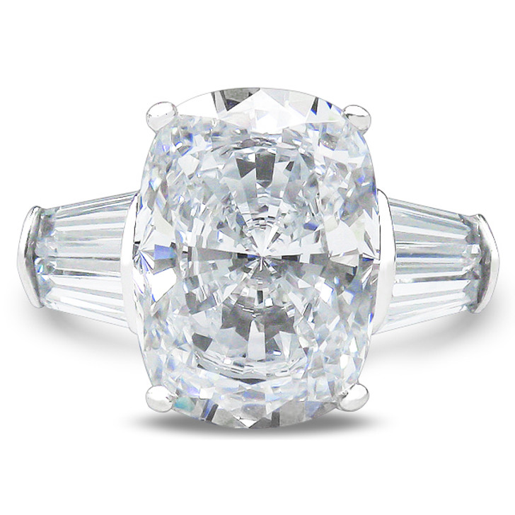 Elongated Cushion Cut Double Baguette Solitaire Engagement Ring