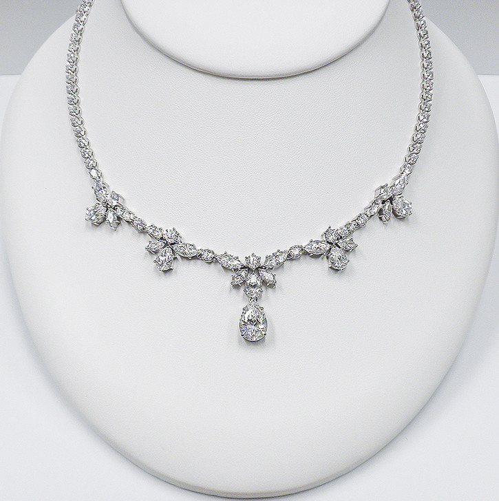 Ariana Rounds with Marquise & Pear Drops CZ Necklace, 26.0 Ct TW
