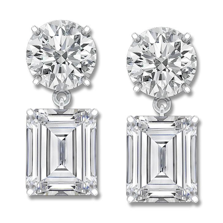 Leila Round & Emerald Cut CZ Drop Earrings, 12.0 Ct TW