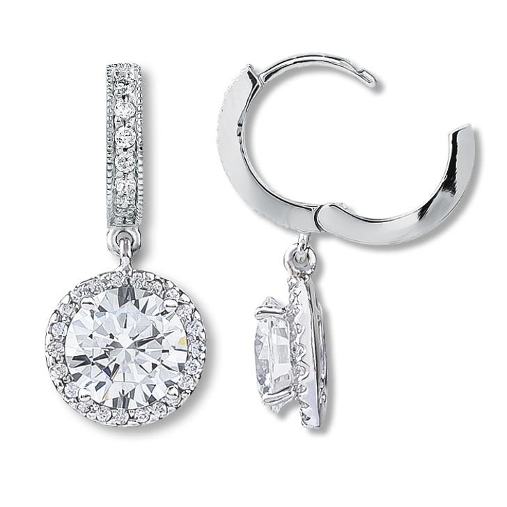 Anastasia Huggie Top Round Drop Halo Earrings, 4.36 Ct T.W.