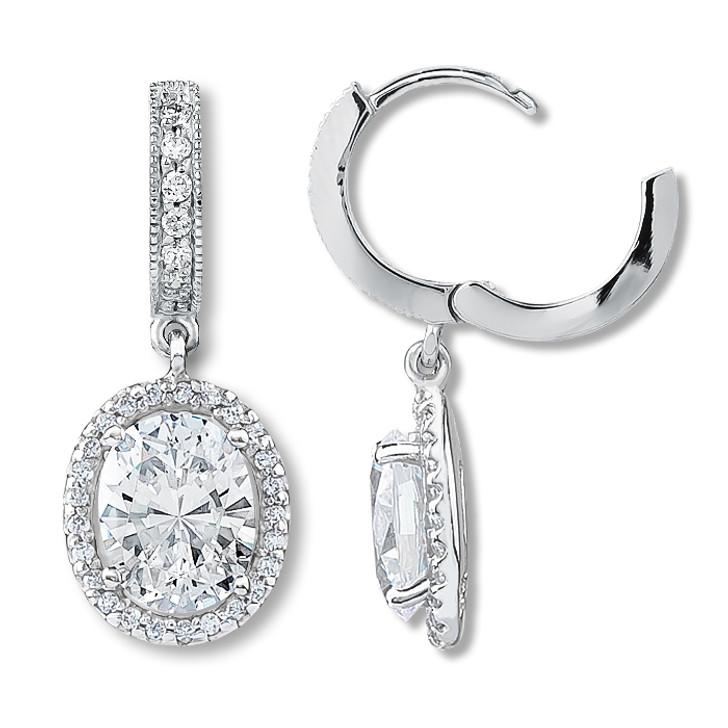 Anastasia Huggie Top Oval Drop Halo Earrings, 3.39 Ct T.W.