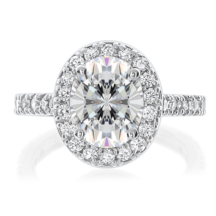 Brenina Oval CZ Halo Solitaire Engagement Ring