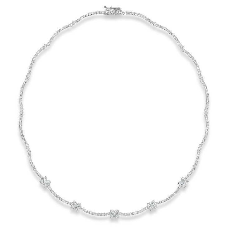 Charlotte Scalloped Flower Cubic Zirconia Necklace