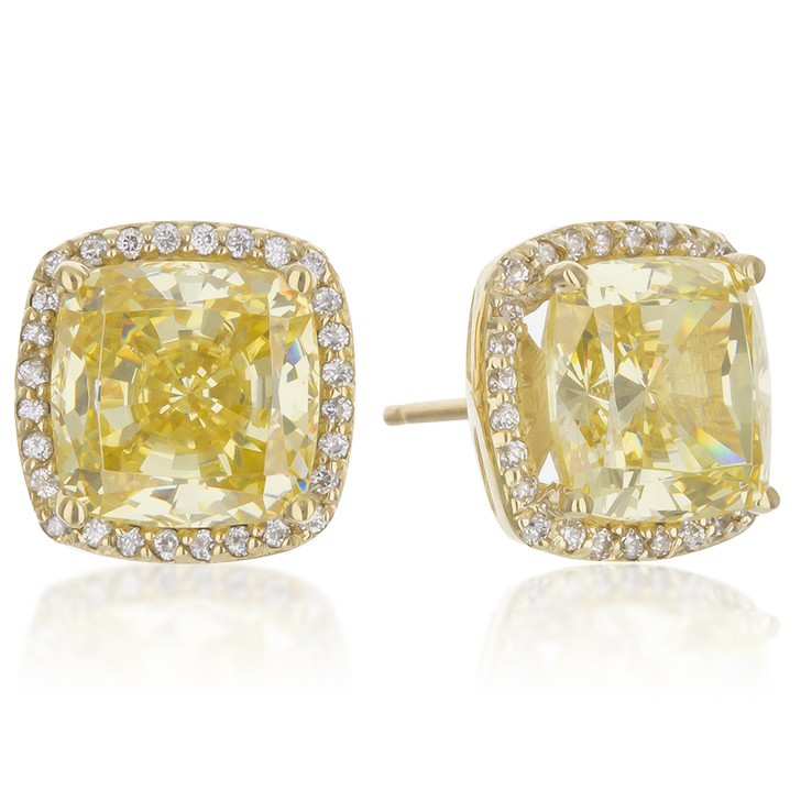 Christine Cushion Yellow CZ Halo Stud Earrings