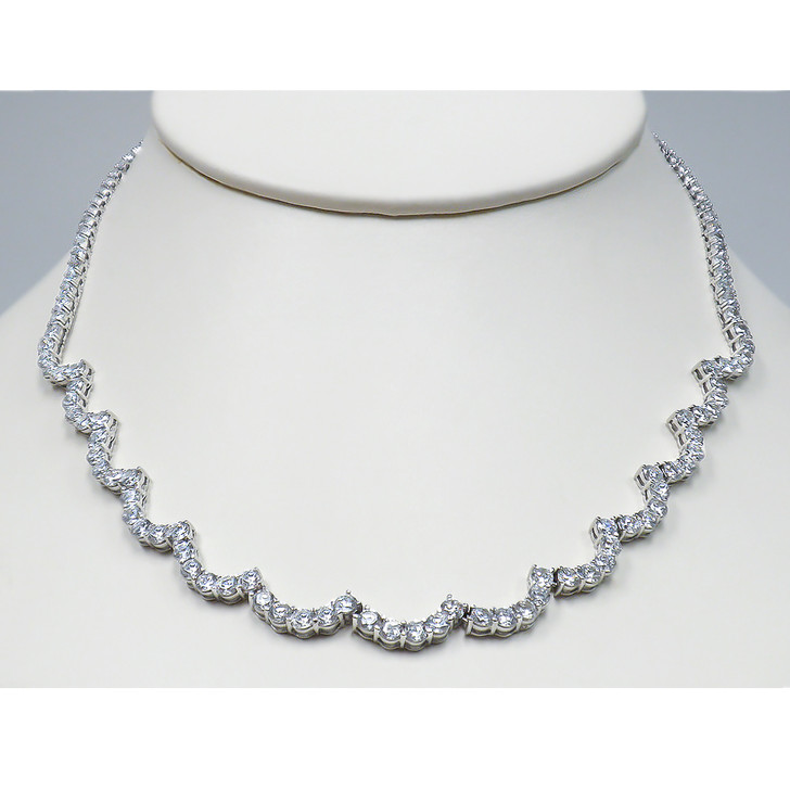 Isabella Scalloped Rounds Cubic Zirconia Necklace