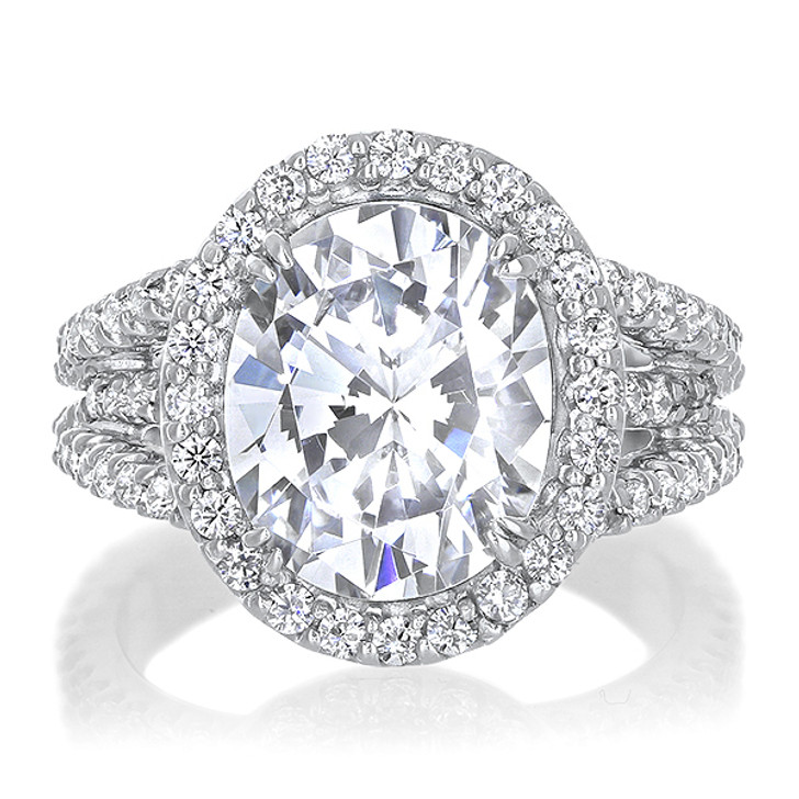 3.5 Carat Oval Madeline Halo CZ Ring