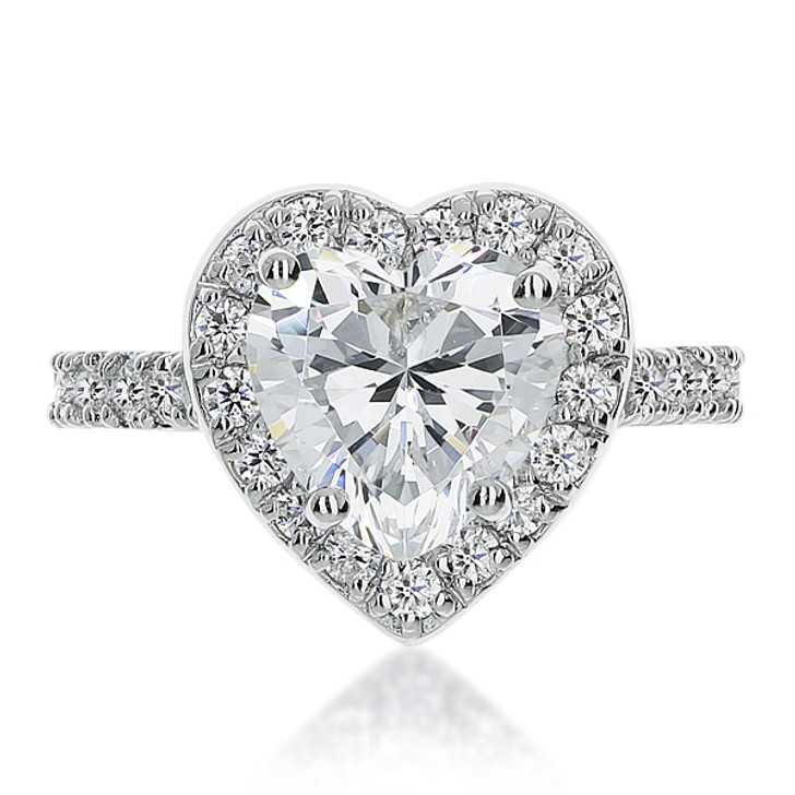 Brenina Heart CZ Halo Solitaire Engagement Ring