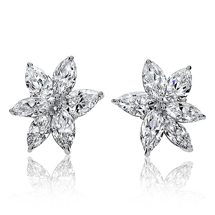 Snowflake Marquise & Pear CZ Cluster Earrings