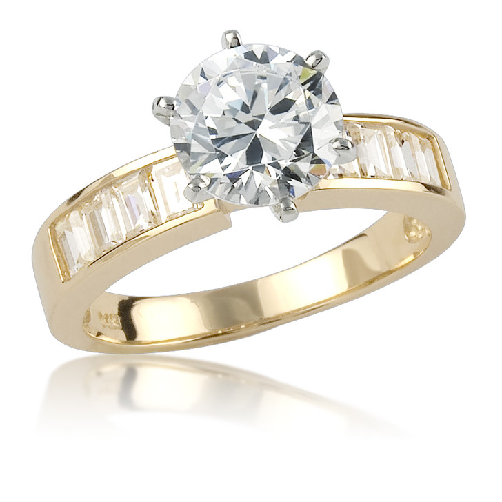 Cynthia Round with Channel Set  Baguettes CZ Engagement Ring