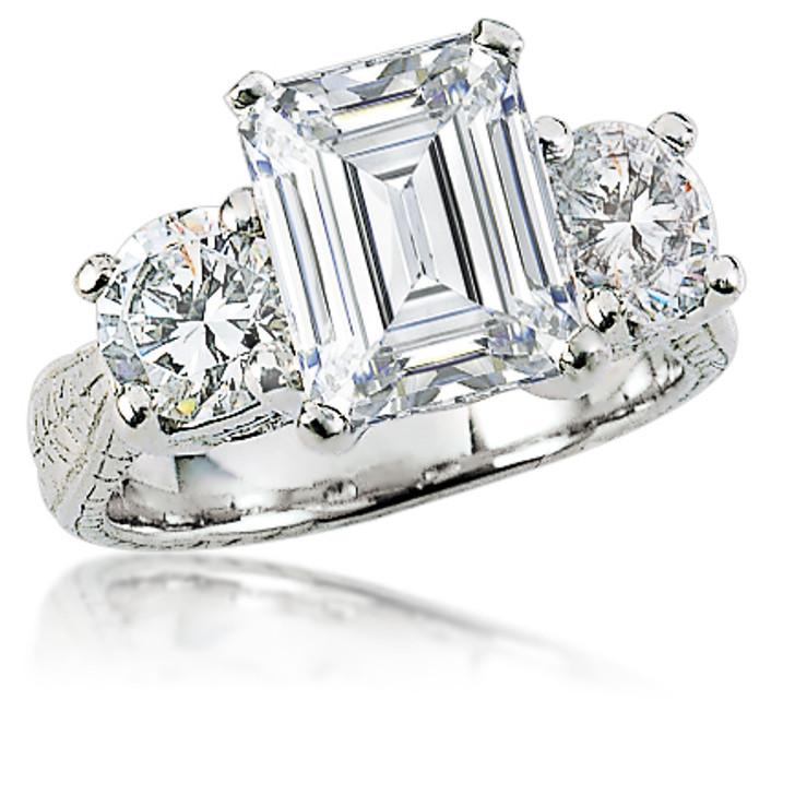 Geneva Emerald Cut & Rounds Three Stone Estate Style CZ Ring
