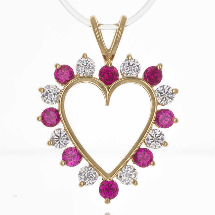 Lab Created Ruby Classic Heart Pendant, 1.0 Ct TW