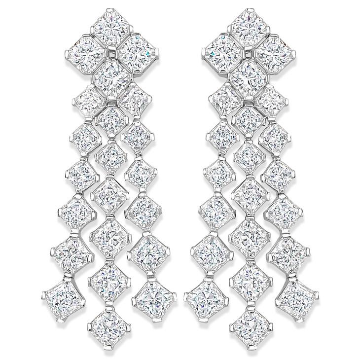 Mirabelle Princess Cut Cubic Zirconia Chandelier Drop Earrings