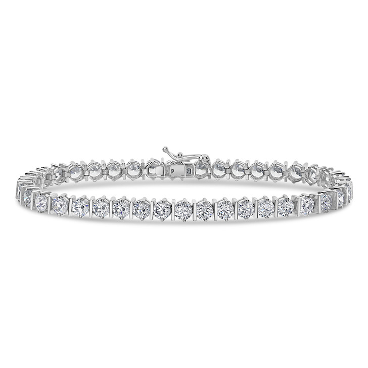 Bar Link with Cubic Zirconia Rounds Tennis Bracelet