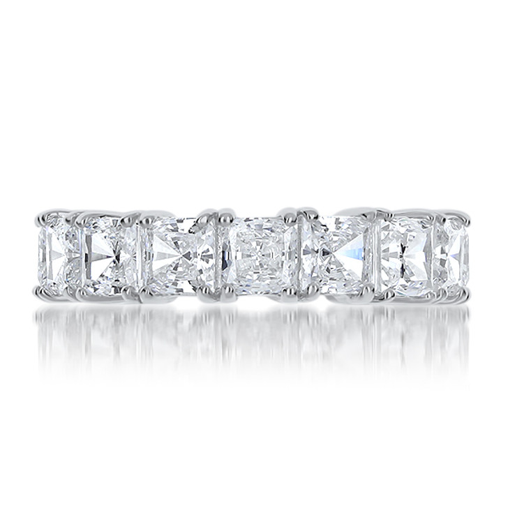 Princess Cut Prong Set Cubic Zirconia Eternity Band