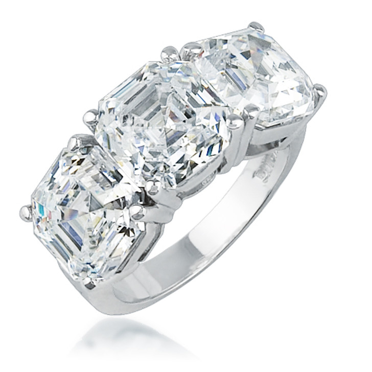 Asscher Designer Inspired Three Stone Cubic Zirconia Ring