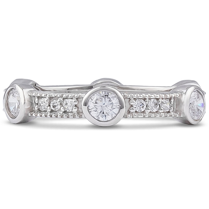 Ellie Pave with Bezel Rounds Stacking Eternity Band