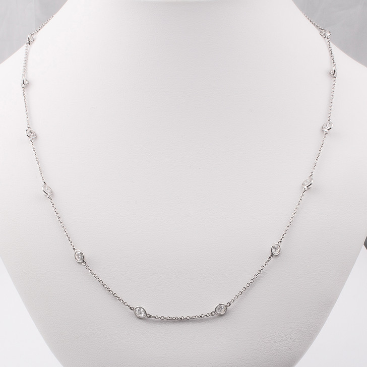 Celebration CZ By The Yard Bezel Rounds Station Necklace 31 to 32 Inches