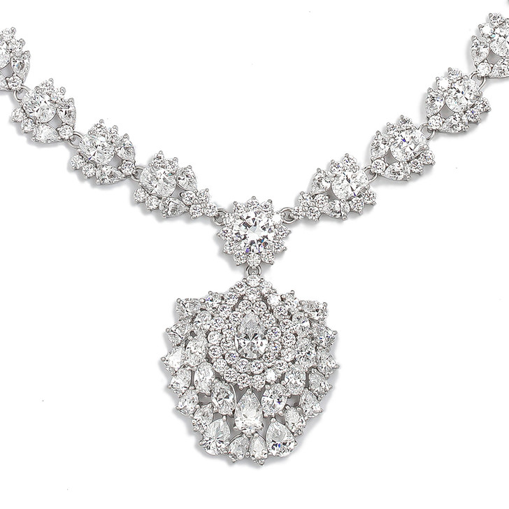Saraphina CZ Leaf Cluster with Floral Drop Formal Necklace, 18 inches