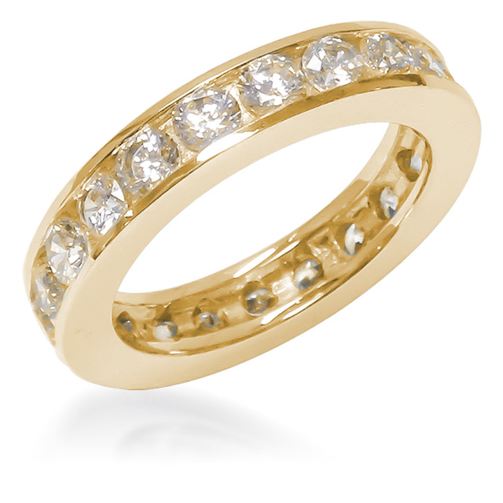 Larger Channel Set Round CZ Eternity Band in 14K Yellow Gold Select Sizes