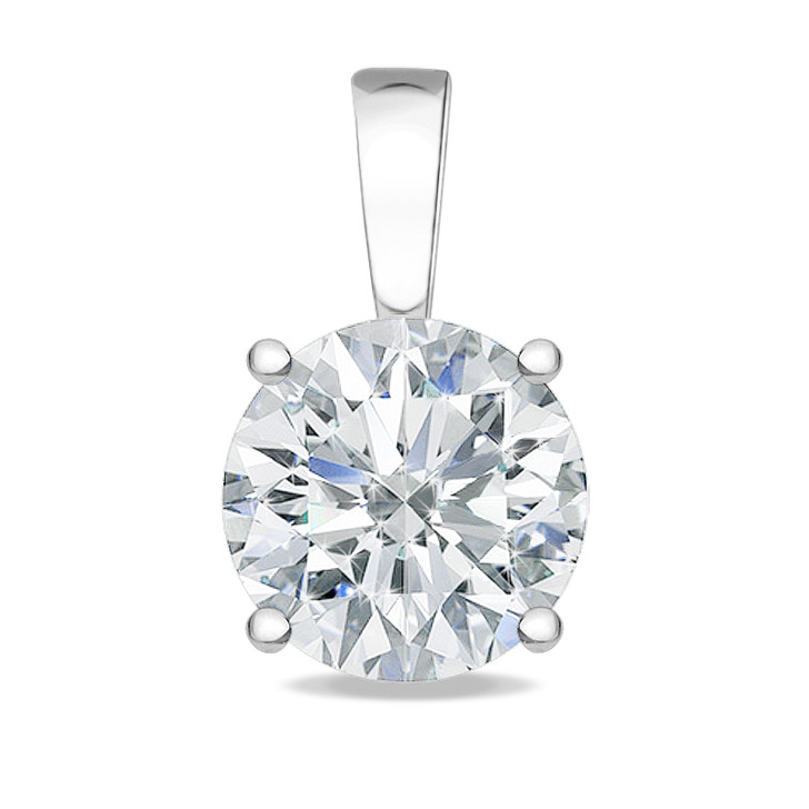 1.5 Carat Allure Round CZ Solid Bail Solitaire Pendant in White Gold