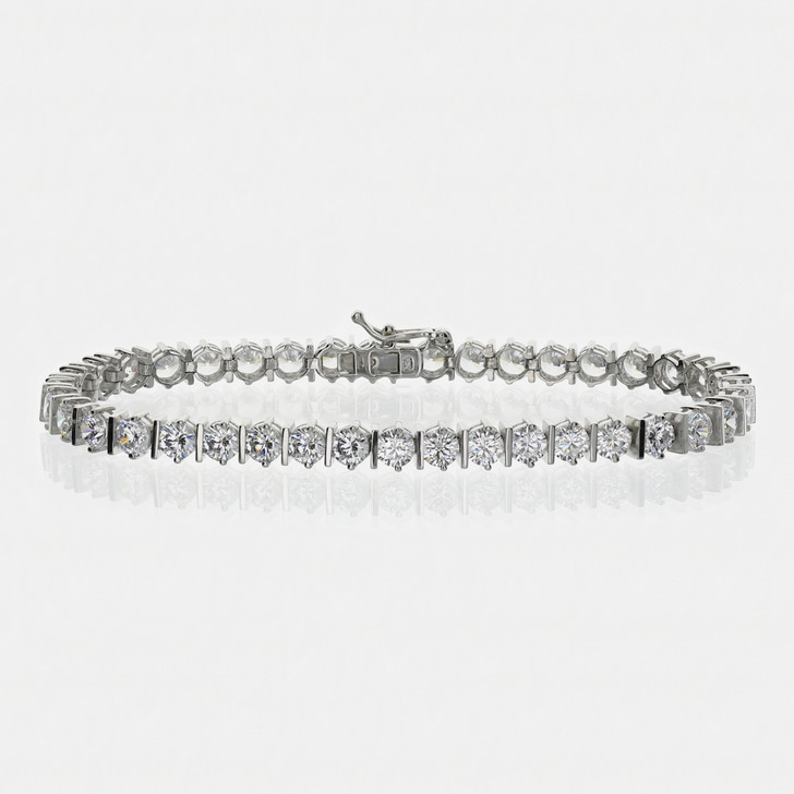 Bar Link with Rounds Tennis Bracelet, 6 Inches - Clearance