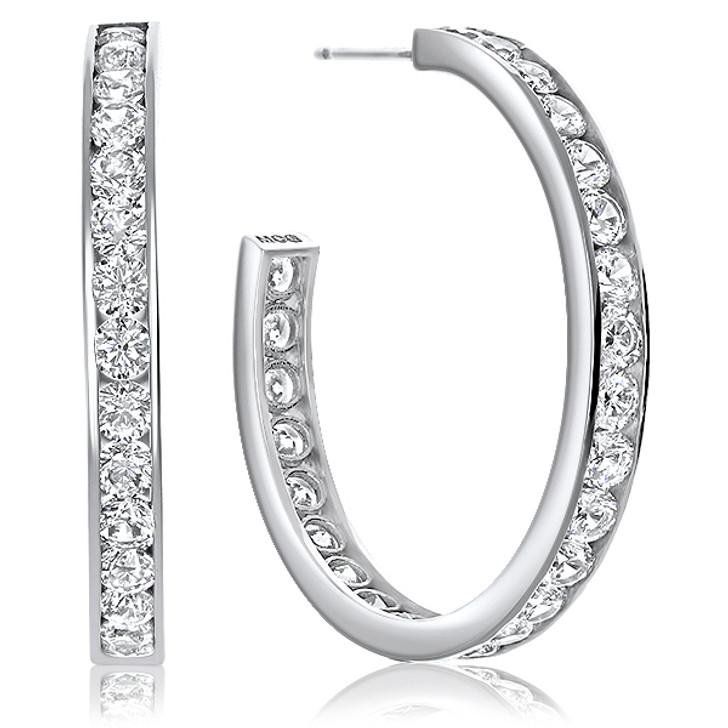 Morgan Channel Set Rounds CZ Hoop Earrings 3.0 CTW