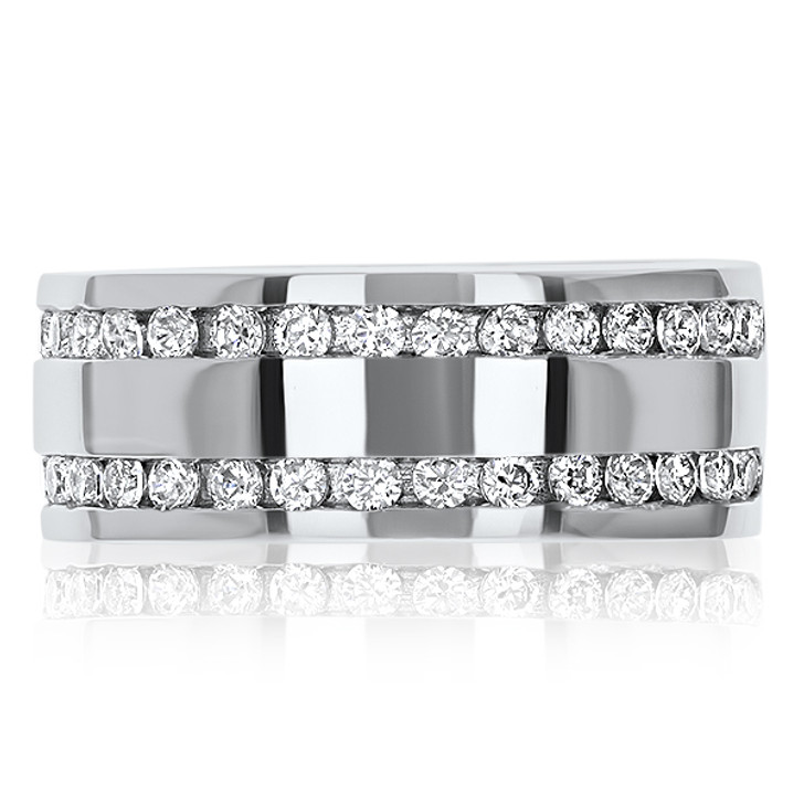 Collin Double Channel Set Rounds Wide Band Ring, 0.68 Ct TW