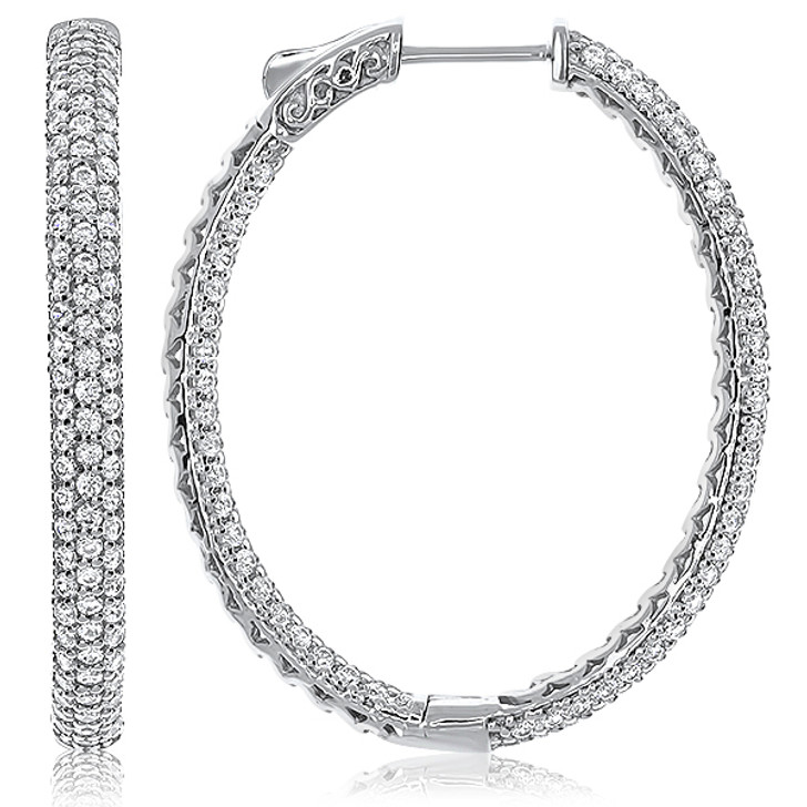 Suzanne Pave Oval Vault Lock Inside Out CZ Hoops, 4.38 Carats Total