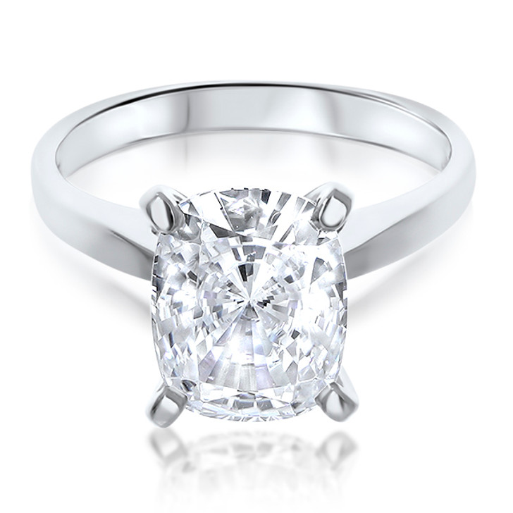 Elongated Cushion CZ Cathedral Solitaire Engagement Ring