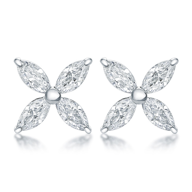 Monarch Marquise Cubic Zirconia Cluster Earrings