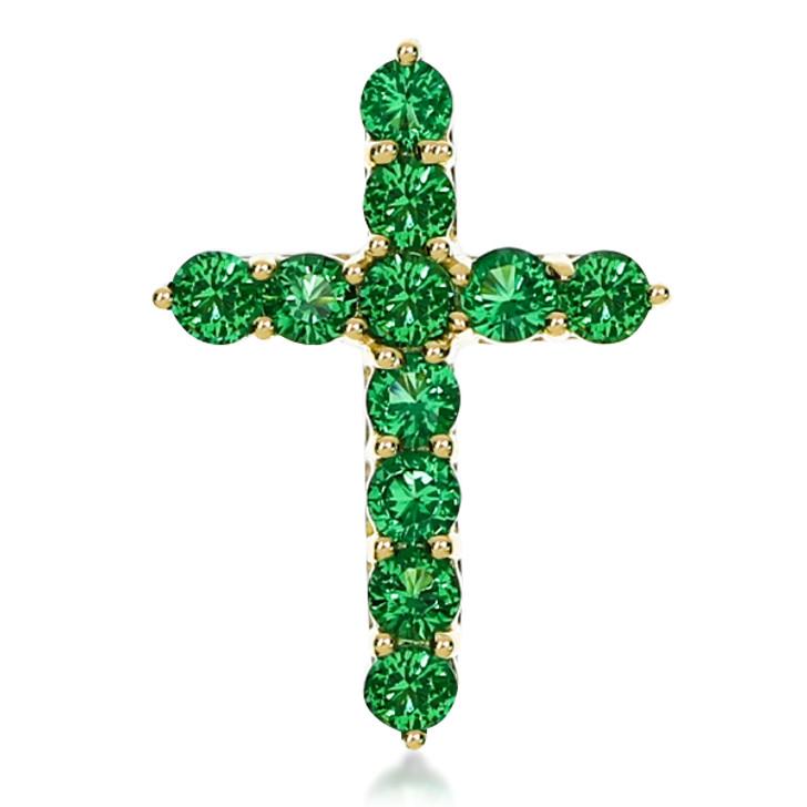 Green Emerald Look Rounds Designer Inspired Cross Pendant, 0.5 Carats