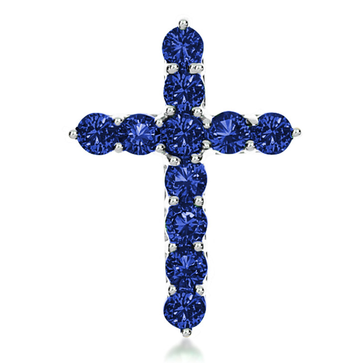 Lab Created Sapphire  Designer Inspired Cross Pendant, 0.5 Carats