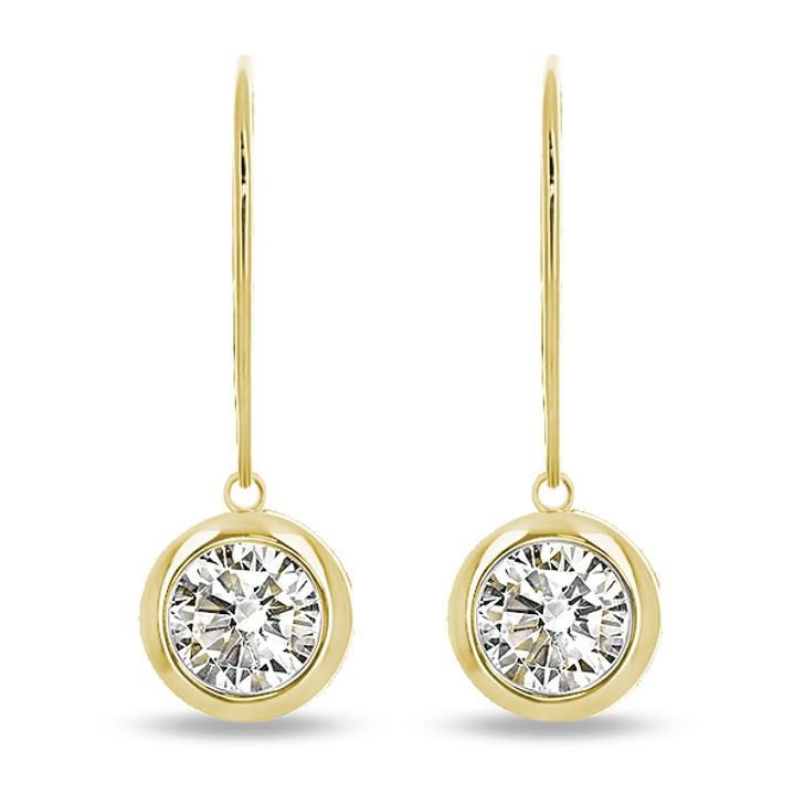 Tessa Round Bezel CZ Leverback / Eurowire Dangle Earrings