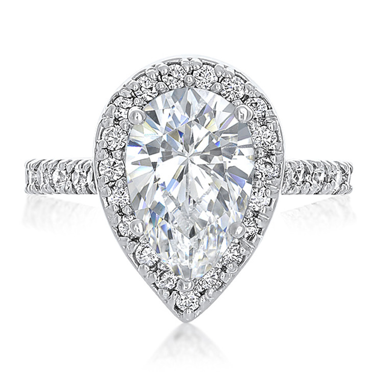 Brenina Pear CZ Halo Solitaire Engagement Ring