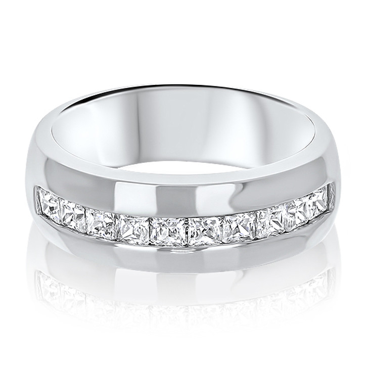 Evan Wide Band Men's Square Channel Ring, 1.3 Ct TW