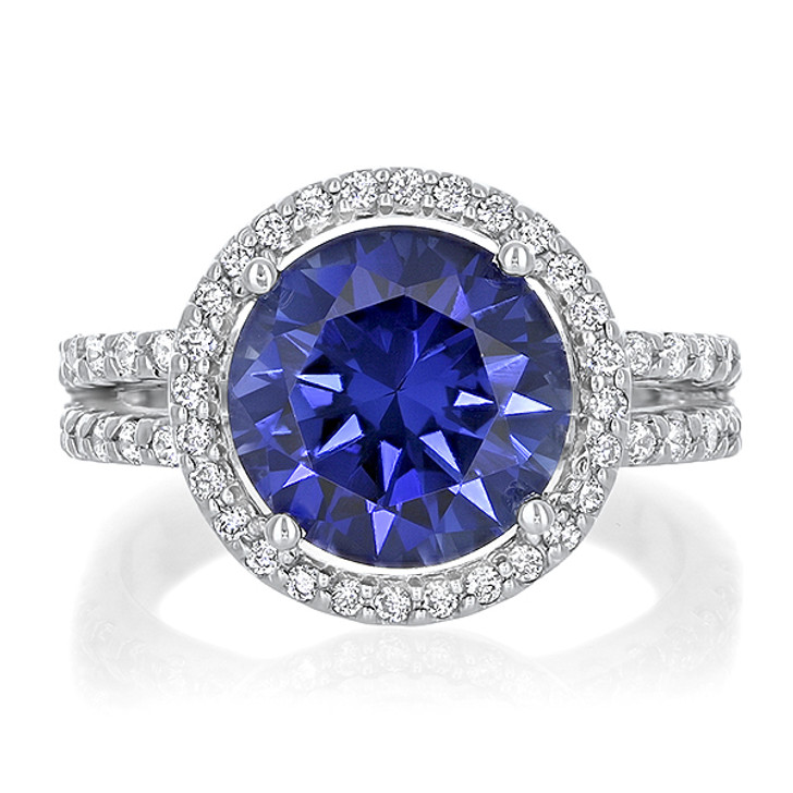 Amélie Round Color Gemstone Open Band Halo Solitaire CZ Ring