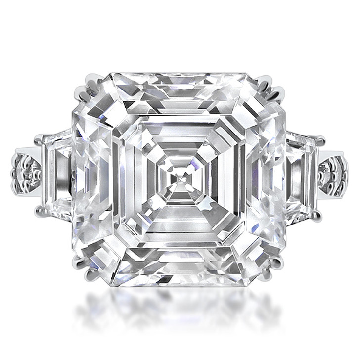 Avalee 10.0 Carat Asscher with Trapezoids CZ Engagement Ring