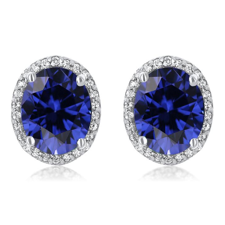 Madison Oval Lab Sapphire Halo CZ Stud Earrings