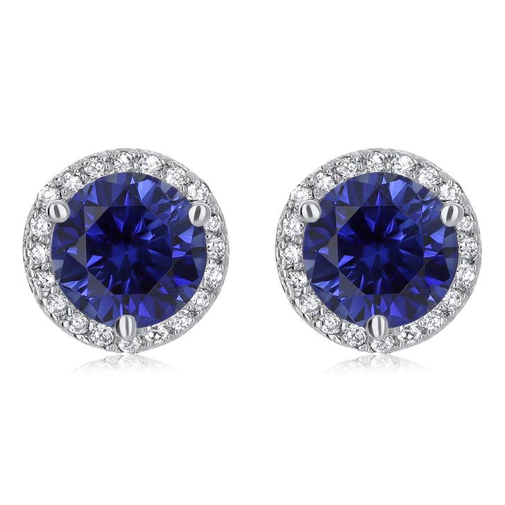 Margarita Halo Round Lab Sapphire CZ Stud Earrings