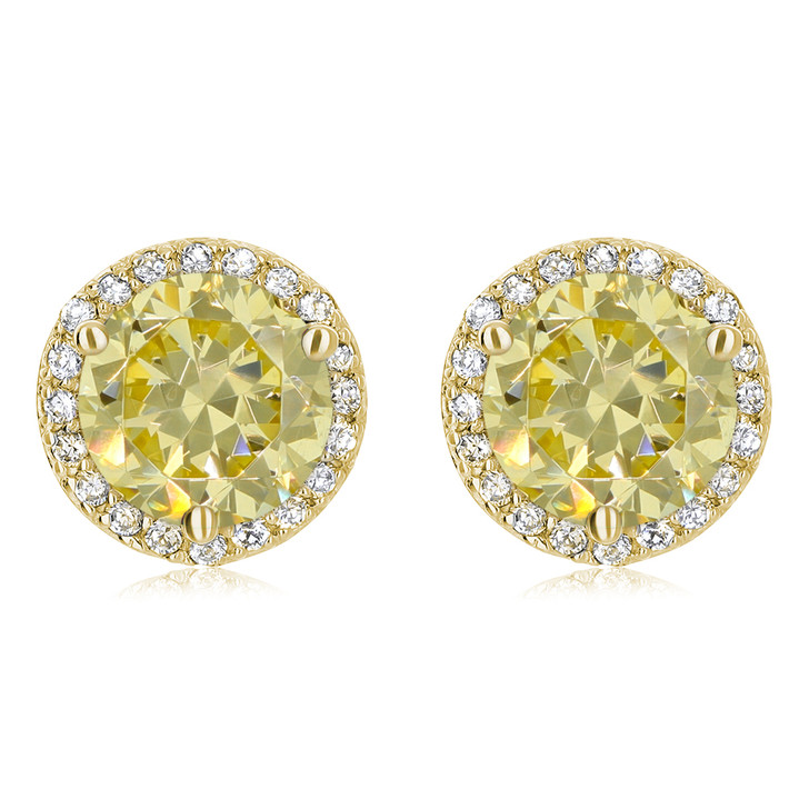 Margarita Halo Round Canary Yellow Diamond Look CZ Stud Earrings