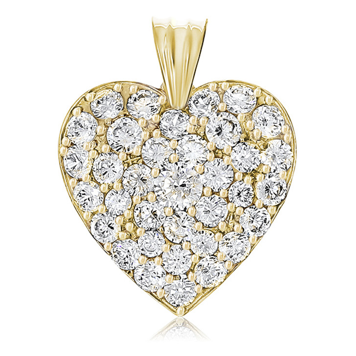 Marie Medium Pave Cubic Zirconia Rounds Heart Pendant