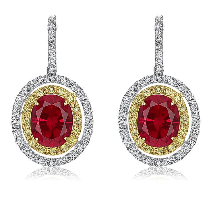 Abaco Lab Ruby Oval Double Halo Drop Earrings