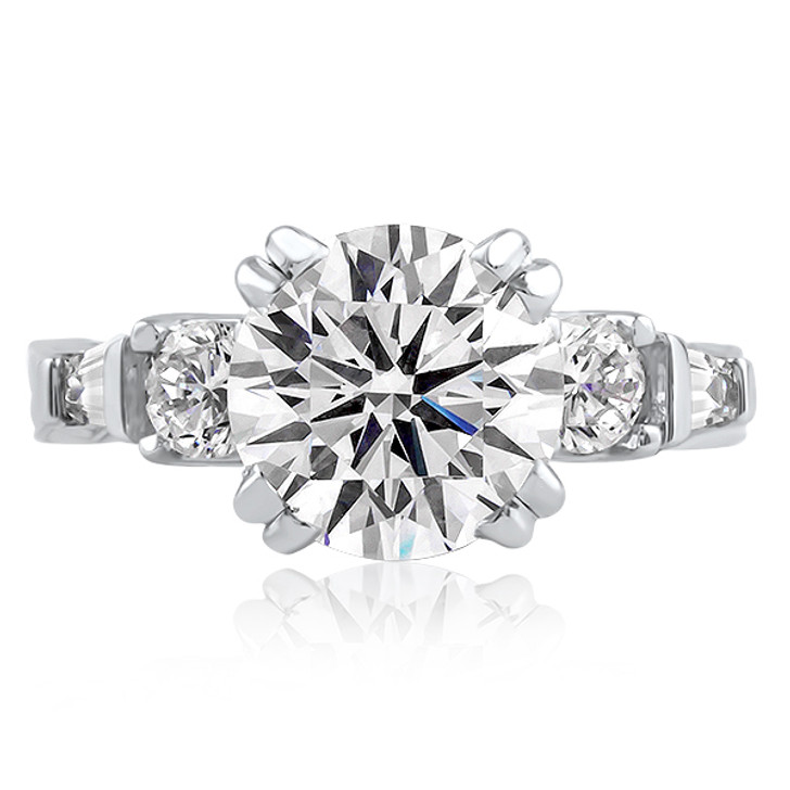 Felicity Split Prong Round with Rounds & Baguettes CZ Estate Solitaire Ring