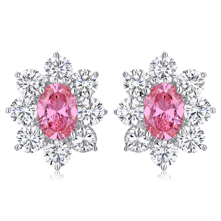 Evelyn Oval with Halo of Rounds Cubic Zirconia Earrings