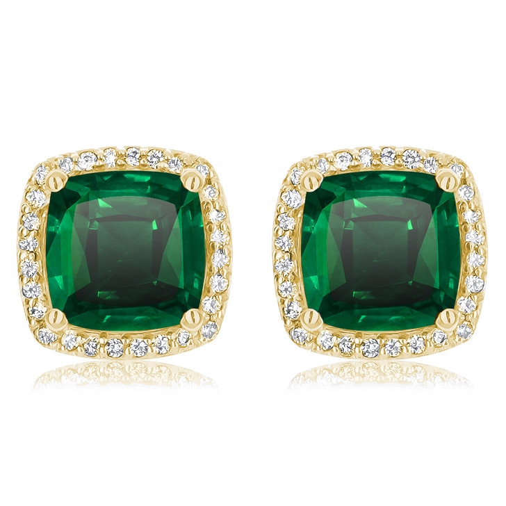 Christine Cushion Simulated Emerald Halo CZ Stud Earrings