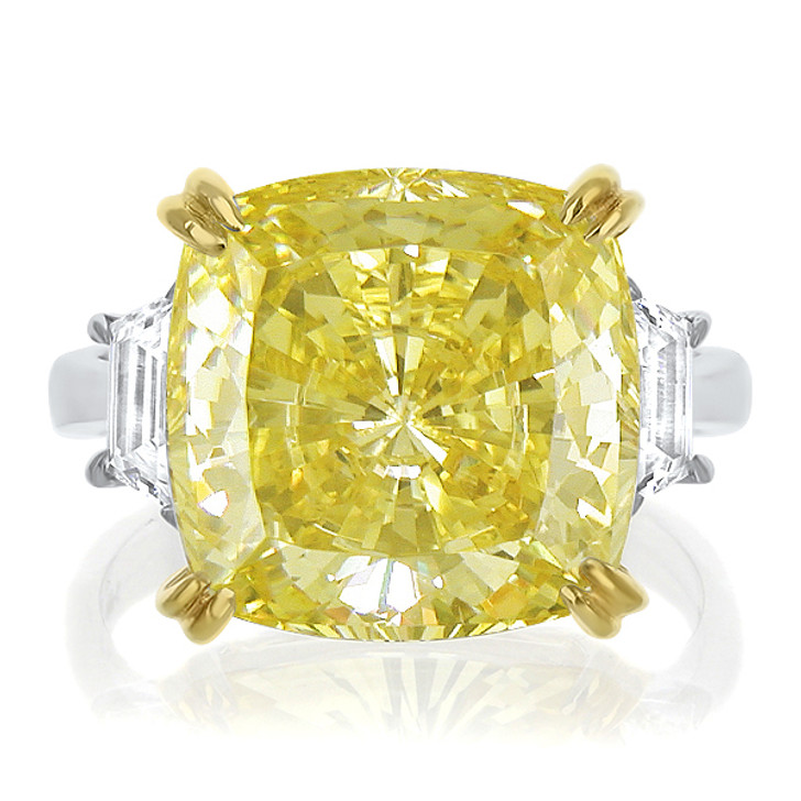 Marina Canary Yellow Cushion with Trapezoids CZ Engagement Ring