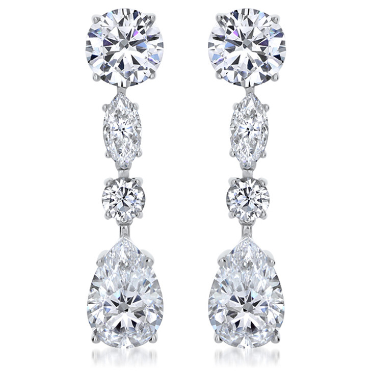 Paris Rounds, Marquise, & Pear Cubic Zirconia Drop Earrings