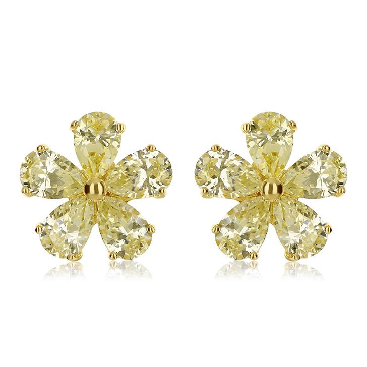 Yellow diamond look cubic zirconia 1/2 carat each pear stones flower shaped earrings.