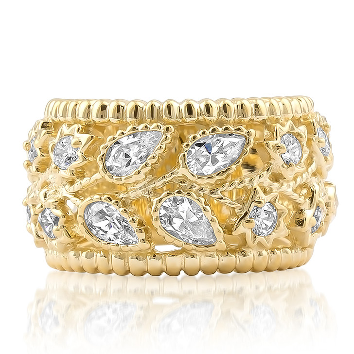 Wide solid 14K yellow gold band ring with cubic zirconia pear and cubic zirconia round stones.